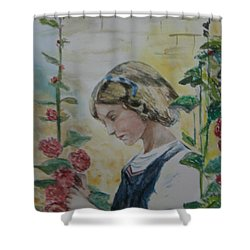 Shower Curtain featuring the painting Young Lady And Hollyhocks by Betty-Anne McDonald