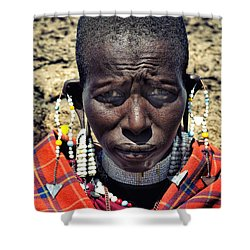 Portrait Of Young Maasai Woman At Ngorongoro Conservation Tanzania Shower Curtain by Amyn Nasser