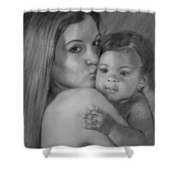 Shower Curtain featuring the drawing Young Mother With Her Baby by Viola El
