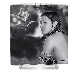 Young Native American Bw  Shower Curtain by Dyle   Warren