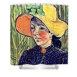 Young Peasant Girl In A Straw Hat Sitting In Front Of A Wheatfield Shower Curtain by Vincent van Gogh