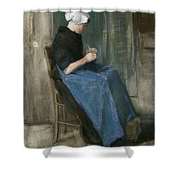 Young Scheveningen Woman Knitting Facing Right Shower Curtain by Vincent van Gogh