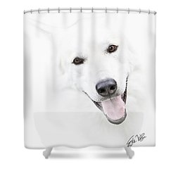 Shower Curtain featuring the digital art Young Wolf by Erika Weber