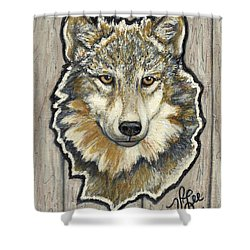 Shower Curtain featuring the painting Young Wolf by VLee Watson