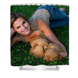 Young Woman And Golden Retriever Puppies Shower Curtain by Linda Freshwaters Arndt