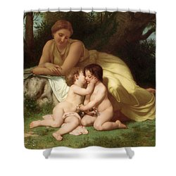 Young Woman Contemplating Two Embracing Children Shower Curtain by William Bouguereau