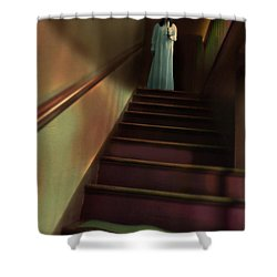 Young Woman In Nightgown On Stairs Shower Curtain by Jill Battaglia