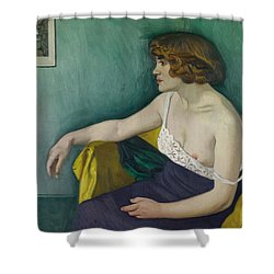 Young Woman Seated In Profile Shower Curtain by Felix Edouard Vallotton