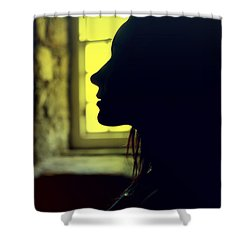 Young Woman Silhouetted Profile Shower Curtain