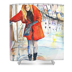 Young Woman Walking Along Venice Italy Canal Shower Curtain