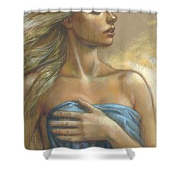 Young Woman With Blue Drape Crop Shower Curtain by Zorina Baldescu