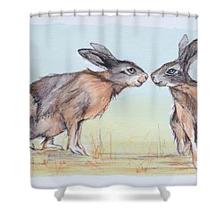Shower Curtain featuring the painting Your Place Or Mine by Cynthia House