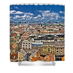 Zagreb Lower Town Colorful Panoramic View Shower Curtain