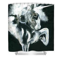 Shower Curtain featuring the painting Unicorn by Barbie Batson