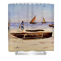 Shower Curtain featuring the painting Zanzibar Forzani Beach by Sher Nasser