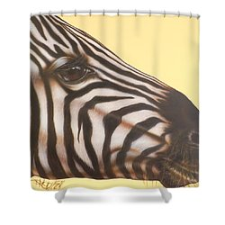 Shower Curtain featuring the painting Zebra by Darren Robinson