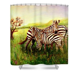 Shower Curtain featuring the painting Zebras At Ngorongoro Crater by Sher Nasser