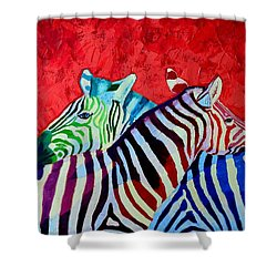 Zebras In Love  Shower Curtain by Ana Maria Edulescu