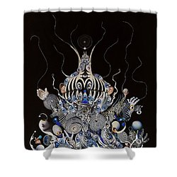 Shower Curtain featuring the mixed media Zebratiki by Douglas Fromm