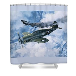 Zemke's Thunder Shower Curtain by Randy Green