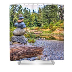 Shower Curtain featuring the photograph Zen Balanced Stones On A Tree by Eti Reid