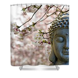 Zen Buddha Meditating Under Cherry Blossom Trees Shower Curtain