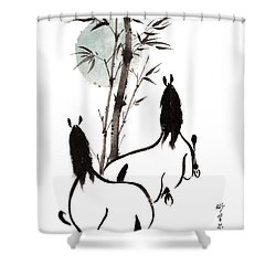 Zen Horses Moon Reverence Shower Curtain by Bill Searle