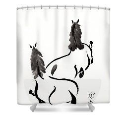 Zen Horses Retired Shower Curtain by Bill Searle