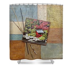 Shower Curtain featuring the mixed media Zen Tranquility				 by Phyllis Howard