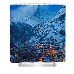 Zermatt - Winter's Night Shower Curtain by Brian Jannsen