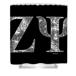 Shower Curtain featuring the digital art Zeta Psi - Black by Stephen Younts