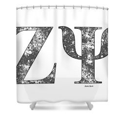 Shower Curtain featuring the digital art Zeta Psi - White by Stephen Younts