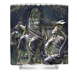 Shower Curtain featuring the photograph Zeus Bronze Statue Dresden Opera House by Jordan Blackstone
