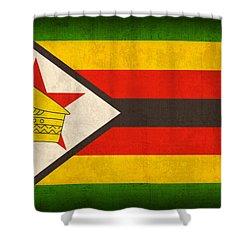 Zimbabwe Flag Distressed Vintage Finish Shower Curtain by Design Turnpike