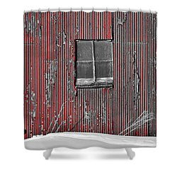 Zink Rd Barn Window Bw Red Shower Curtain
