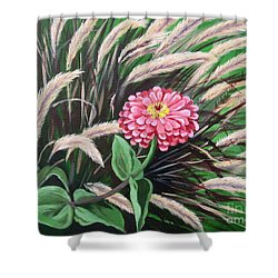 Zinnia Among The Grasses Shower Curtain