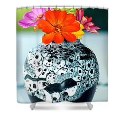 Zinnia In Vase Shower Curtain