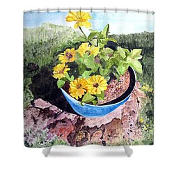 Shower Curtain featuring the painting Zinnia On A Tree Stump by Sandy McIntire