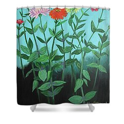 Zinnia Parade Shower Curtain