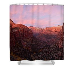 Zion Canyon At Sunset, Zion National Shower Curtain