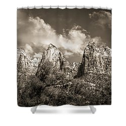 Shower Curtain featuring the photograph Zion Court Of The Patriarchs In Sepia by Tammy Wetzel