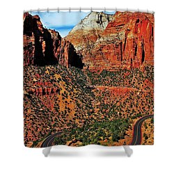 Zion Hairpin Shower Curtain by Benjamin Yeager