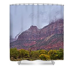 Zion In Clouds Shower Curtain by Matt Suess