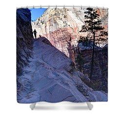 Zion National Park Hiker Climbs Hidden Canyon Trail Shower Curtain by Gary Whitton