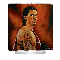 Zlatan Ibrahimovic Painting Shower Curtain by Paul Meijering
