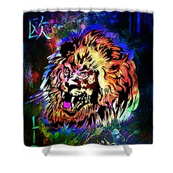 Zodiac-lion And Chinese Symbol Shower Curtain