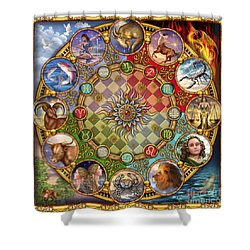 Zodiac Mandala Shower Curtain by Ciro Marchetti
