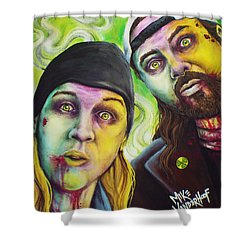 Zombie Jay And Silent Bob Shower Curtain by Mike Vanderhoof