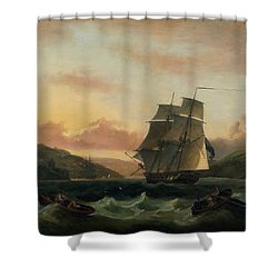 A Brigantine In Full Sail In Dartmouth Harbour Shower Curtain by Thomas Luny