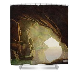 A Grotto In The Gulf Of Salerno - Sunset Shower Curtain by Joseph Wright of Derby